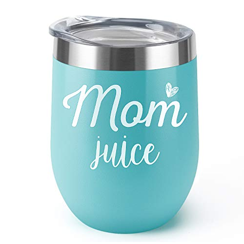 Mom Juice, Supkiir 12 oz Wine Tumbler, Double Wall Vacuum Insulated Wine Glasses with Lid, Stainless Steel Cup for Wine,Coffee,Cocktails|Perfect Mother's Day, Christmas