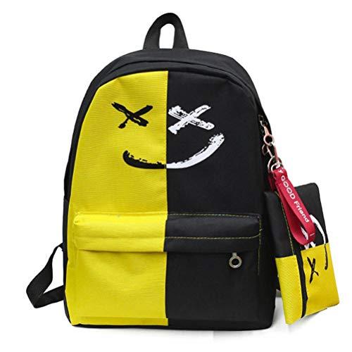 VHVCX Luxus 2 PC/Satz Frauen Rucksäcke Lächeln Druck Adrette Art Schulranzen für Teenager Composite-Rucksack-Sets, D