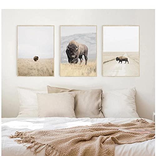artaslf Arte de pared de animales cartel de bisonte Highland ganado lienzo pintura Americana Southwestern Farm decoración del hogar-40x60cmx3 sin marco