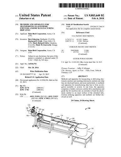 Methods and apparatus for transporting elastomeric emitters and/or manufacturing drip lines: United States Patent 9883640 (English Edition)