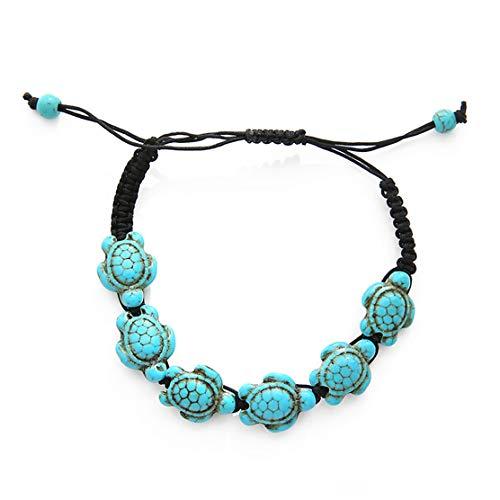 YSINFOD Handgewebte grüne Türkis Schildkröte Armbänder verstellbare handgemachte Seil böhmischen Vintage Armband Armreif Schmuck Geschenk für Frauen Mädchen
