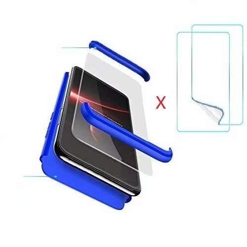 hyujia Compatible Meizu M5 Note Funda(2018) Carcasa 360° Ultra Fina Protectora cojín+Vidrio Templado Pantalla Protector,3 in 1 PC Hard Caja Caso Skin Case Cover Carcasa para Meizu M5 Note Azul