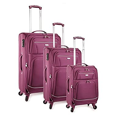 TravelCross Springfield Premium Luggage 3 Piece Lightweight Spinner Set - Pink