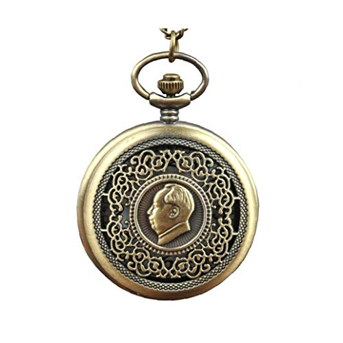Mujeres Presidente reloj de bolsillo análogo de cuarzo de bolsillo del patrón Mao cadena pendiente de bolsillo del bronce del reloj del collar del reloj de bolsillo de L, Casa y jardín