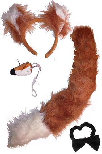 Faschingskostüm Damen Fuchs-Set (Schwanz, Haarreif, Nase, Fliege) (rot-braun)