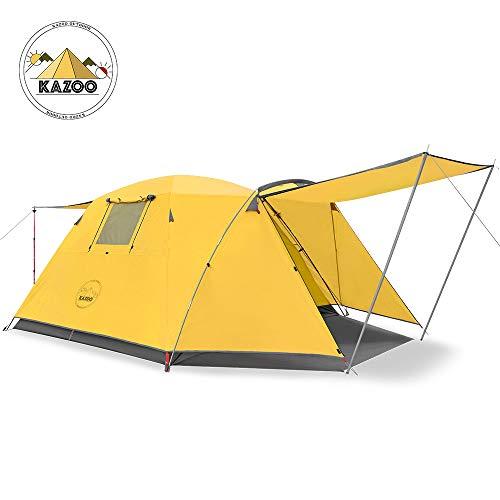 KAZOO Campingzelt Familienzelt Zelt 4 Person Mann,Wasserdicht Campingzelt Zelt Für Wandern Reisen Strand,Doppelwandig Kuppelzelt Zelt Mit Vorraum, Wurfzelte 3000mm