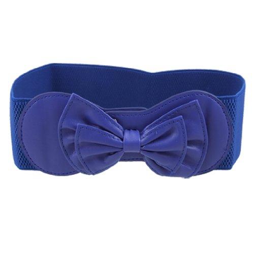 Allegra K Women Bowtie Ornament Press Stud Button Elastic Waist Cinch Belt Royal Blue