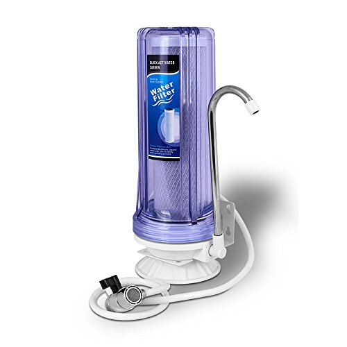 Ronaqua One Stage Countertop Drinking Water Filtration System Removes Chlorine with Block Activated Carbon Filter, Transparent...