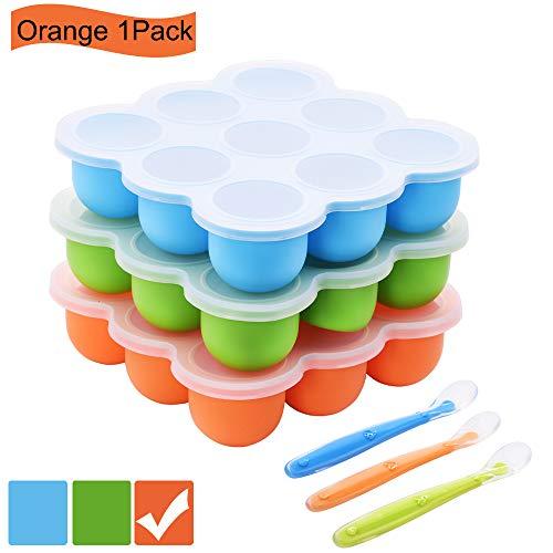 BOCHION Boîte de Rangement congelée pour Aliments pour bébés en Silicone, avec Couvercle sans Silicone BPA et FDA, pour Aliments pour bébés, purée, Whisky, yogourt et Glace,Multi-Usage réutilisable.
