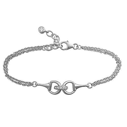Paul Wright 925 Sterling Silver Snaffle Bit Bracelet set with Cubic Zirconia, Double Chain, 17cm plus 3cm Extender