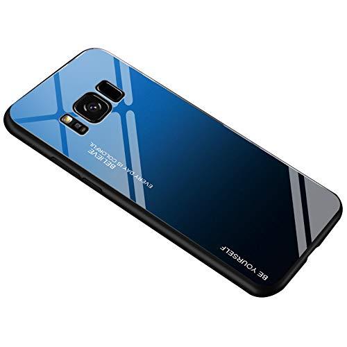 Alsoar Ultra Sottile Custodia per cellulare per Galaxy S8 Plus Custodia Protettiva Gradient Vetro Temperato Cornice in Silicone Morbido Antiurti Antigraffio Vogue Cover Samsung S8 Plus (Blu Nero)