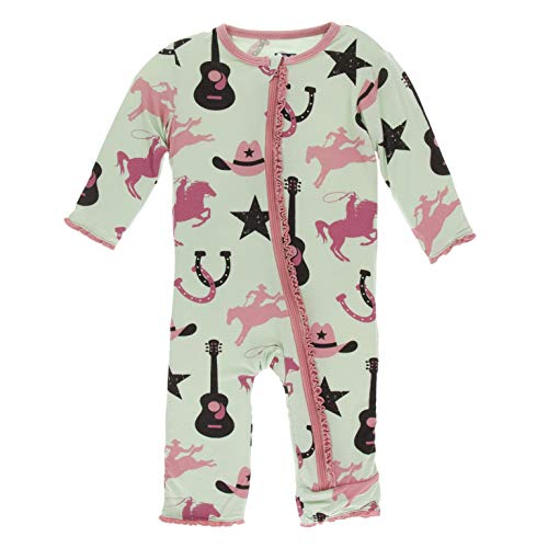 KicKee Pants Print Muffin Ruffle Coverall with Zipper (Pistachio Cowboy - 6-9 Months)