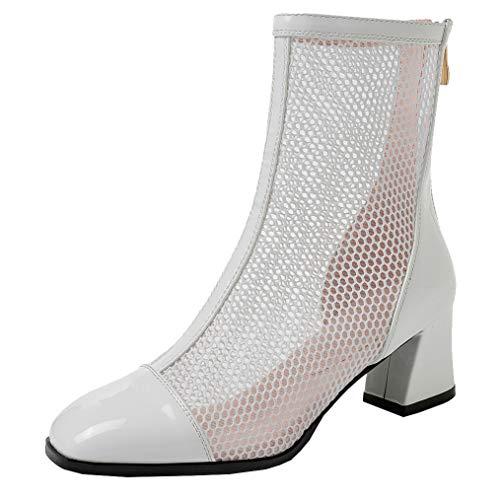 Femany Damen Blockabsatz Stiefeletten Sommer Mesh Sommerstiefel mit Absatz und Reißverschluss Cut Outs Schuhe (Weiß,35)