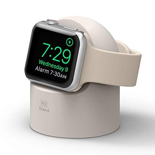 elago W2 Supporto W2 Stand Compatibile con Apple Watch SE/Serie 6 / Serie 5 / Serie 4 / Series 3 / Series 2 / Series 1 / 44mm / 42mm / 40mm / 38mm - Stand Notturno, Gestione Cavi (Pietra Beige)