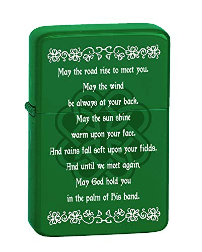 Hat Shark Irish Blessing Prayer May The Road Rise Up Green Celtic Knot Vector KGM Thunderbird Vintage Lighter - Matte Green