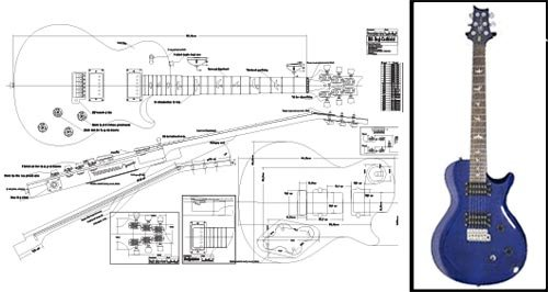 Plan of PRS Singlecut E-Gitarre mit Einzelausschnitt, Vollmaßstabsdruck