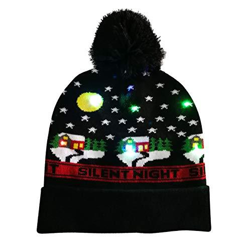 SolaXii Gorro de Navidad LED de fibra de vidrio luminoso, gorro de Navidad cálido de invierno a la moda, pelota de peluche, color clásico, unisex, decoración creativa y dulce, I, Talla única