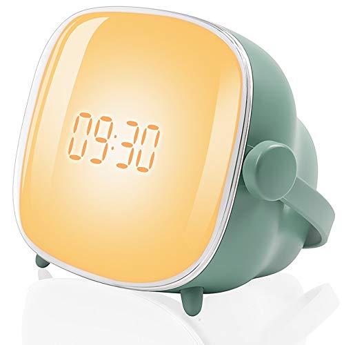 Tubeshine Wake Up Light Wecker Lampe, Kreative TV-Nachtlicht Mit Sonnenaufgang Simulation, USB-Lade Nacht Nachttischuhr Lampe(Cadmium Grün)