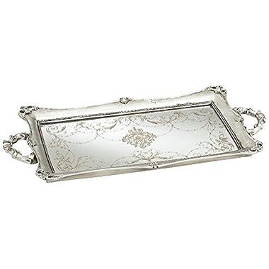 Dahlia Studios Victoria Large 22 1/2  Wide Silver Mirrored Decorative Tray