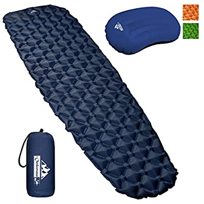 Outdoorsman Lab Sleeping Pad Pillow Bundle for Adults & Kids - Ultralight, Compact & Portable Camping Gear - for Hiking, Camping & Backpacking - with Carrying Bag Repair Kit & Compression Sack