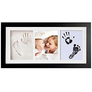 Meilo Set de Marco de Fotos y Huellas de Bebé en Tinta – Marcos de fotos para bebé– No tóxico - Marco de madera y cristal acrílico -Sets de modelado e impresión (negro)