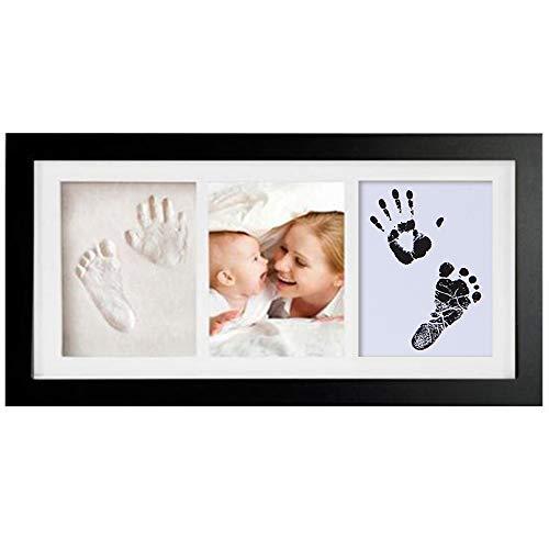 Cadre photo d'argile d'empreinte de main de bébé,Kits de moulage et d'empreintes, cadre en bois et verre acrylique, cadeau de kits de moulage et d'impression pour baptême de bébé, Meilo