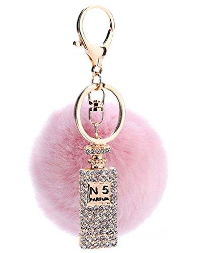 Sumolux Schlüsselanhänger Taschenanhänger Geburtstagsgeschenk mit Plüsch Kugel Ornament Pink