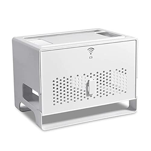Organizador Estante WiFi Router,Estante de enrutador Wifi,Set-Top Box - Caja de almacenamiento para router inalámbrico,Estantería grande de pared con compartimentos para el router 31.4 * 21 * 23cm