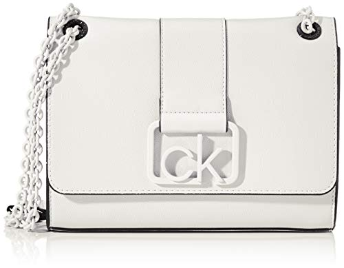 Calvin Klein - Ck Signature Conv Crossbody Md, Bolsos bandolera Mujer, Blanco...