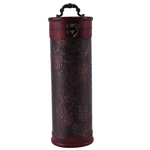 TOPSALE Cilindro Vintage Retro Madera Vintage Botella de Vino Almacenamiento Caja de Regalo Caja Titular