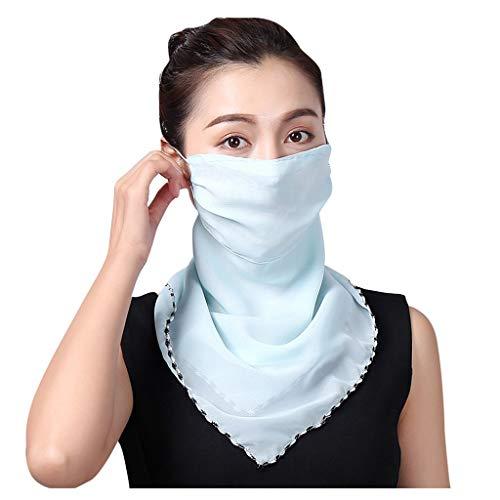 Xiangdanful Damen Halstuch Mundschutz Multifunktionstuch Sommer UV-Schutz Atmungsakti Gesichtsmaske Chiffon Tuch Face Shield Winddichte Bandana Headwrap (Blau)