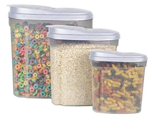 Home Basics 3-Piece Cereal Container, 1.3/2.7/5-Liter