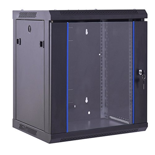Safstar Wall Mount IT Network Server Cabinet Enclosure Data Devices Rack (12U, Tempered Glass Type)