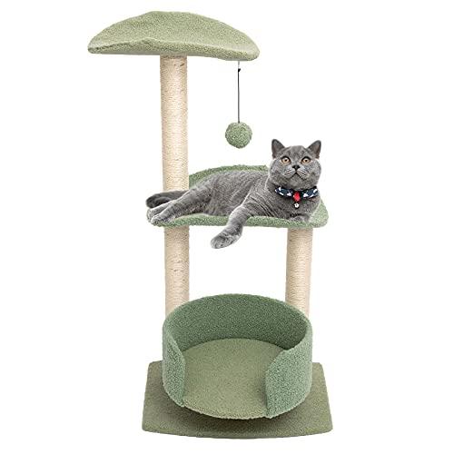 PETTOM キャットタワー 猫タワー ネコタワー 猫用 キャット タワー 組立簡単 ネコタワー 天然サイザル麻 猫 遊び場 頑丈耐久 高さ93cm (グリーン)