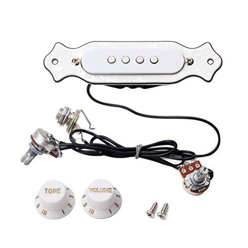 SUPVOX Manopola pre-cablata per pickup a 4 corde Scatola per sigari elettrica Chitarra Soundhole Pickup Manopola di controllo del volume del volume GMB337 Bianco