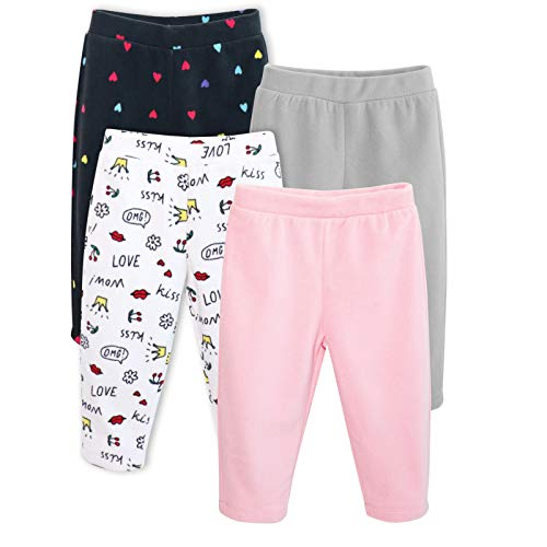 GLASH Kids Baby and Toddler Boys Girls Unisex 4-Pack Fleece Pants , Real Girl, 0-3 Months