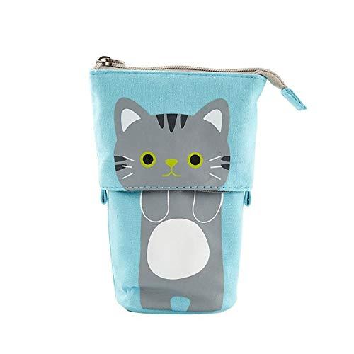 Cute Pencil case Flexible Big cat School Cloth Art Pencil case School Supplies Stationery Gifts (C)