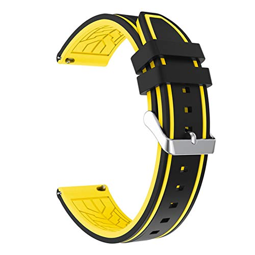 KAAGGF Silicona Soft Sport Wamkband 20mm 22mm 24mm 26mm Buceo de Goma Hombres Impermeables Reemplazo Pulsera Banda Correa Reloj Accesorios (Band Color : Black Yellow 02, Band Width : 26mm)
