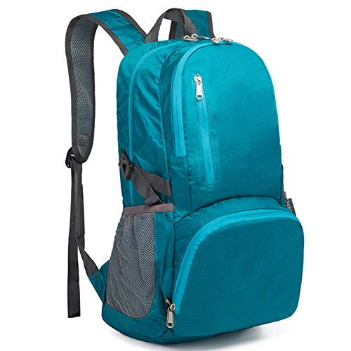 Foldable Folding Bag Men And Women Waterproof Leisure Backpack Folding Backpack,lake blue