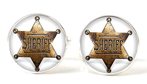 Gemelolandia | Boutons de Manchette magglass étoile SHERIFF | Pour Hommes et Garçons | Cadeaux Pour Mariages, Communions, Baptêmes et Autres Événement
