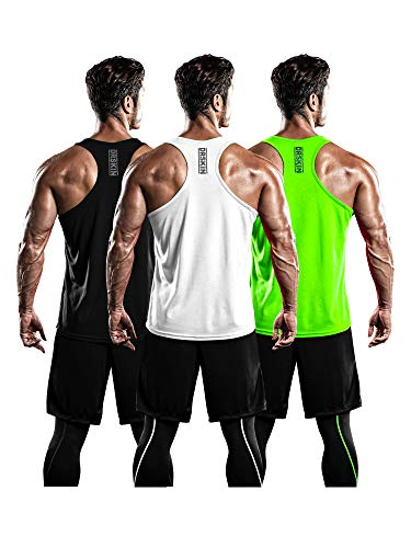 DRSKIN Men's 3 Pack Dry Fit Y-Back Gym Muscle Tank Mesh Sleeveless Top Fitness Training Cool Dry Athletic Workout (BTF-ME-TA-(B,W,LG), L)