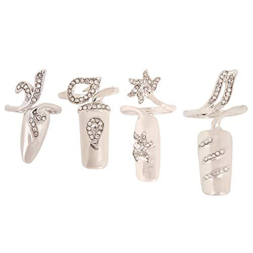 Timesuper Frauen stilvolle Strass Finger Nagelring einzigartige Fingernagel schützende Nagelkappe Abdeckung Ring Art Tip Abdeckung,Silber