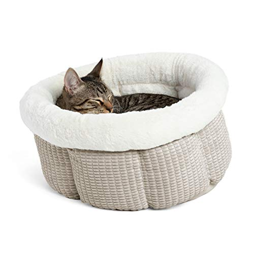 Best Friends by Sheri Cuddle Cup Mason Cozy Microfiber Cat and Dog Bed in Oat