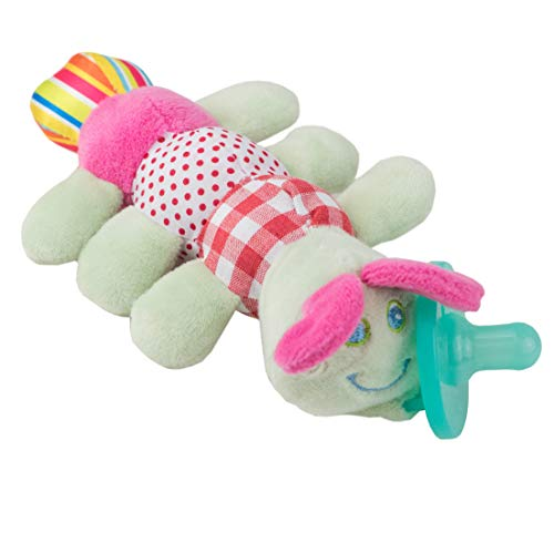 Chupete con Oruga Cheeky Chimp, Juguete de felpa suave con chupón de silicona médica sin BPA, Chupeta con peluche para bebé, chupete de animales (Oruga)