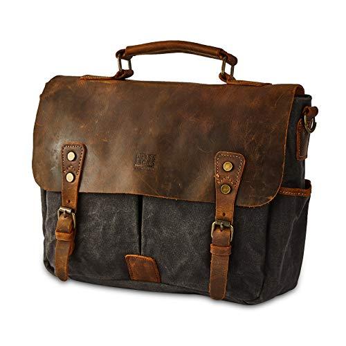 BRASS TACKS Leathercraft Vintage 14 inch Laptop Briefcase Shoulder Messenger Bag for Men Women Heavy Duty Waterproof Canvas and Genuine Leather