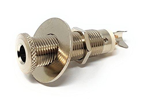 MainCore 6,35-mm-Buchse Mono Chassis Tafeleinbau  DIY-Adapter (Löten) Lötanschluss mit Sicherungsmutter für Lautsprecher, AMP/Boss Elektro, Solo, Akustik, Semi Gitarrenkabel