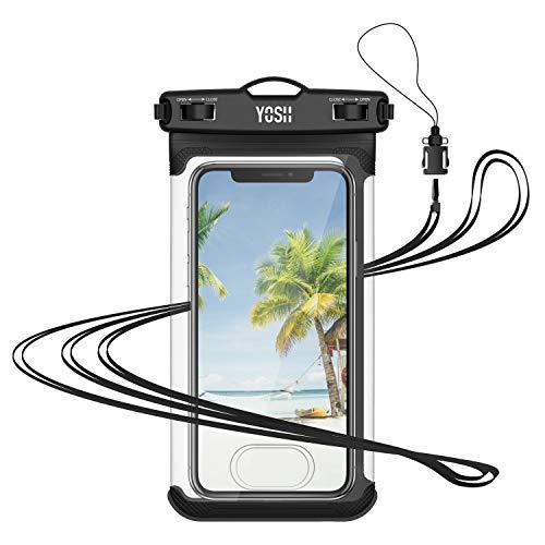 YOSH wasserdichte Handyhülle Beutel mit Touch ID bis zu 6.9 Zoll Wasserschutzhülle für iPhone 11 Pro/Pro Max/XS/XS Max/XR/X/8/7/6 für Samsung S9/S8/S7/S6/S5/A5 Huawei, LG, Xiaomi, mit Trageband