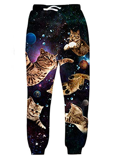 uideazone Unisex 3D Printed Sports Jogging Pants Men's Trousers Casual Sweatpants Gym Running Traning Pants for All Season (Galaxy Cat, L)