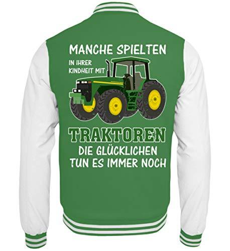 ALBASPIRIT Traktor Landwirt Kindheit Witziger Spruch Landwirtschaft Trecker Bauer Geschenk - College Sweatjacke -S-Grün-Weiss