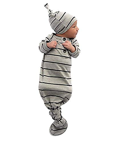 Vestidos de bebé unisex de algodón a rayas con gorra, saco de dormir largo anudado, gris, 0-6 Meses
